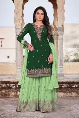 Green FAUX GEORGETTE EMBROIDERY WOMEN'S SEMI STITCHED SHARARA SUIT
