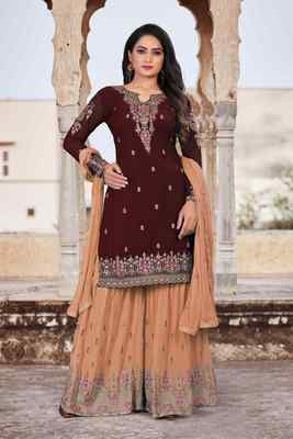 Brown FAUX GEORGETTE EMBROIDERY WOMEN'S SEMI STITCHED SHARARA SUIT