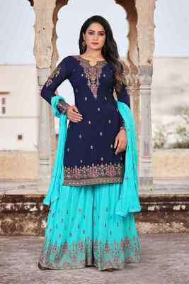 Blue FAUX GEORGETTE EMBROIDERY WOMEN'S SEMI STITCHED SHARARA SUIT