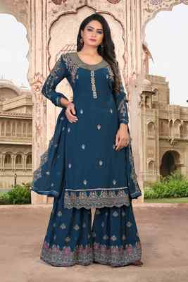 Turquoise FAUX GEORGETTE EMBROIDERY WOMEN'S SEMI STITCHED SHARARA SUIT