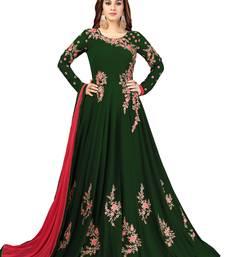 Ujjwal Creation Embroidery Party wear Faux Georgette Green Anarkali Gown