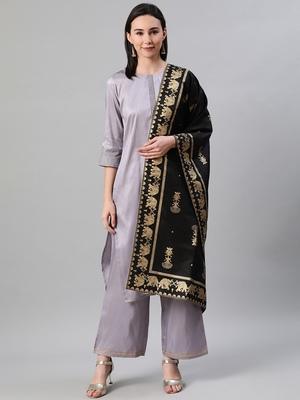 Grey plain art silk kurtas-and-kurtis