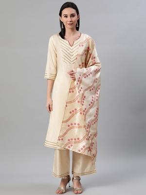 Cream plain art silk kurtas-and-kurtis