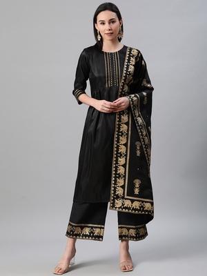 Black plain art silk kurtas-and-kurtis