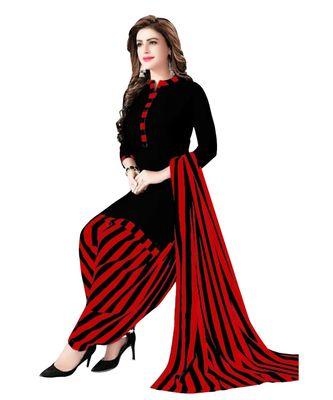 Black Printed Polyester Unstitched Salwar  Kameez