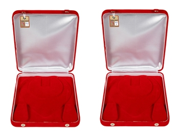 atorakushon Red Women Velvet Jewellery Storage Boxes Necklace Ring Earring Pendant Half Set Wedding Organizer Pack 2