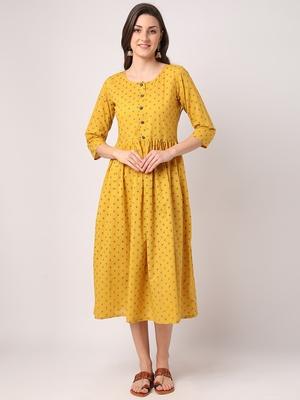 Mustard printed cotton long-dresses