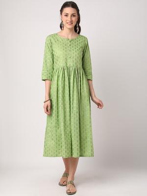 Green printed cotton long-dresses