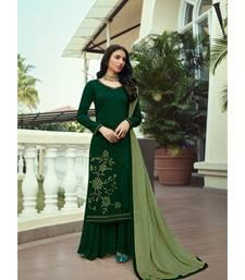 Dark Green Heavy Swarovski Work Soft Silk unstitched suit plzaoo suit