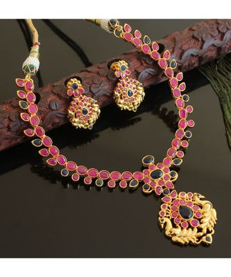 Splendid gold t1 semi precious ruby-blue necklace set-02024