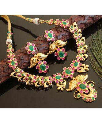 Splendid gold t1 semi precious ruby-emerald necklace set-02026