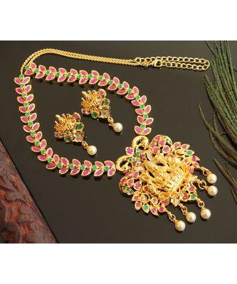 Splendid gold t1 semi precious ruby-emerald lakshmi necklace set-02030