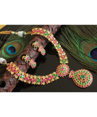 Splendid gold t1 semi precious ruby-emerald necklace set-02008