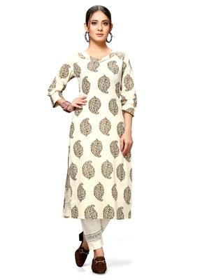 Varyaa Women's Cream Coloured Cotton Jaipuri Printed Kurti