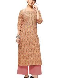 Varyaa Women's Light Brown Coloured Cotton Jaipuri Floral Printed Kurti