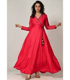 embroidered red cotton silk  Gown