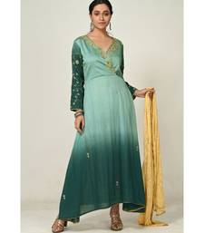 embroidered blue cotton silk  Gown