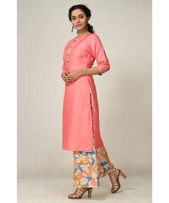 printed baby-pink pure silk cotton  Kurti    Palazzo Pant    Dupatta