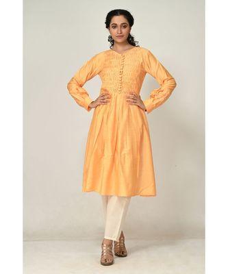 plain yellow raw silk  Kurti    Pant