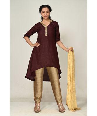 plain brown pure silk cotton  Kurti    Dhoti Pant    Dupatta