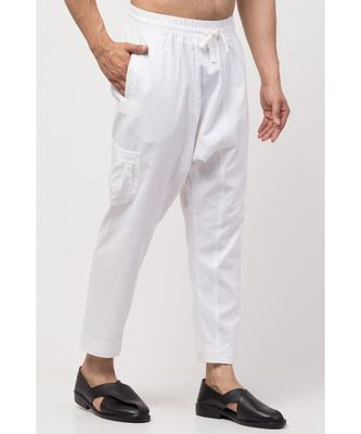 two side and one  patch pocket elasticated waist Harem Pant
