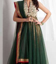 Dark Green embroidered Net readymade-suits shop online