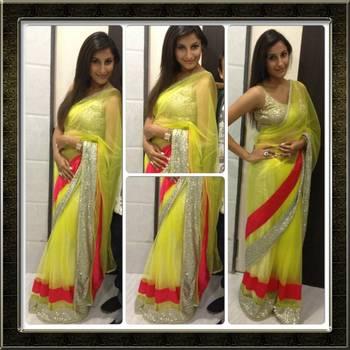 Lemon Green Net saree