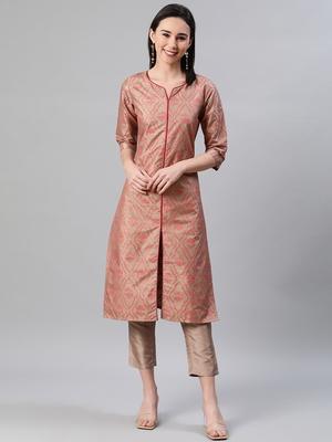 Brown printed art silk kurtas-and-kurtis