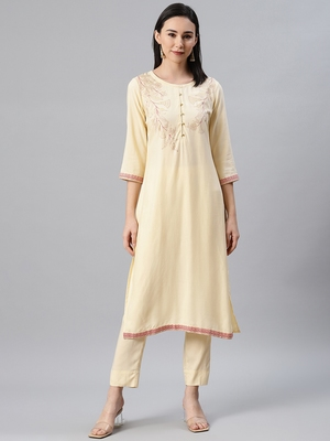 Cream printed rayon kurtas-and-kurtis