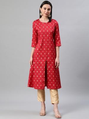 Red printed art silk kurtas-and-kurtis