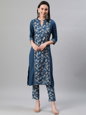 Teal printed rayon kurtas-and-kurtis