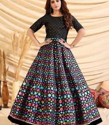 Black pigment foliage Taffeta Silk Party Wear gown