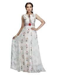 Off-white printed crepe kurtas-and-kurtis