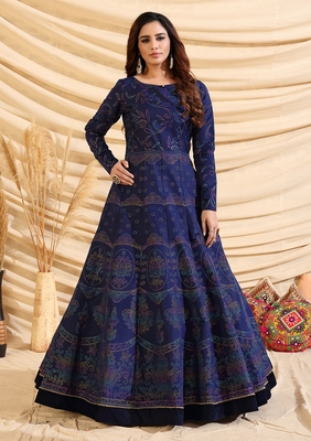 Navy-Blue pigment foliage Taffeta Silk Party Wear gown