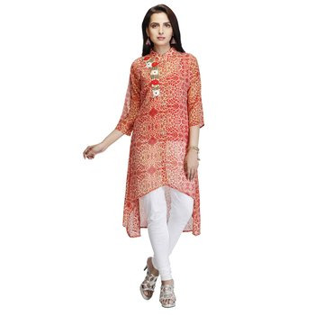 Red embroidered georgette kurtas-and-kurtis