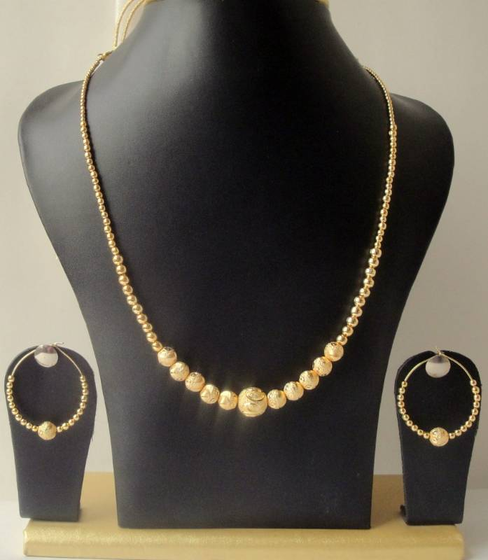 4cbed2848551f Gorgeous gold tone unique design golden balls trendy fashion necklace set