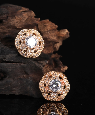 White Gold Plated Stone Earrings