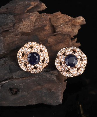 Black Gold Plated Stone Earrings