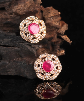 Red Gold Plated Stone Earrings