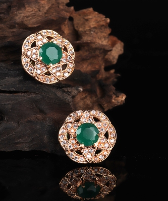 Green Gold Plated Stone Earrings