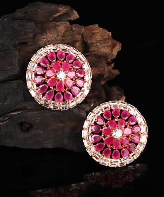 Pink Gold Plated Stone Earrings