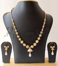 Buy GORGEOUS GOLD TONE UNIQUE WHITE STONE BALLS TRENDY FASHION NECKLACE SET necklace-set online