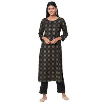 Women's Rayon Black Kurta Set