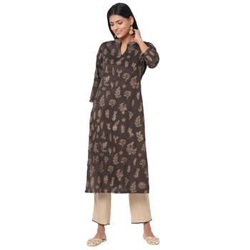 Women's Silk Brown Kurta Set