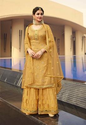 Yellow jacquard jacquard salwar