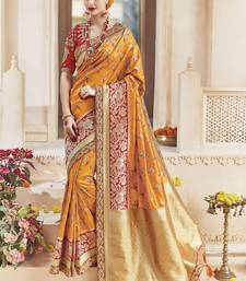 Amber embroidered silk blend saree with blouse