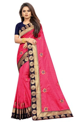 Dark Pink Embroidery Zari Saree with Jacquard Border and With Blouse