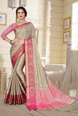 Beige Jacquard Woven Kanchipuram / Kanjivaram Silk Sarees With Blouse Piece