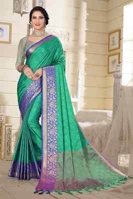 Turquoise Jacquard Woven Kanchipuram / Kanjivaram Silk Sarees With Blouse Piece