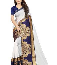 White Blue Color Chanderi Cotton Jacquard Border Blouse Saree with Blouse